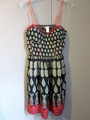 7e77e893fdd83 Womens Band of Gypsies Anthropologie Boho Tribal Sundress Sz LG Built-In Bra