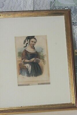 Antique 19Th Century Hand Colored Etching Signed