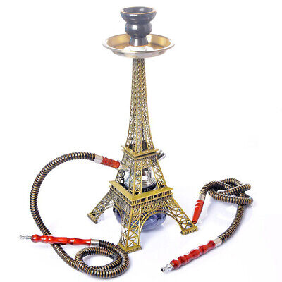 Paris Tower Shisha Set Hookah Double Hose with Ceramics Bowl Charcoal Tongs Shis
