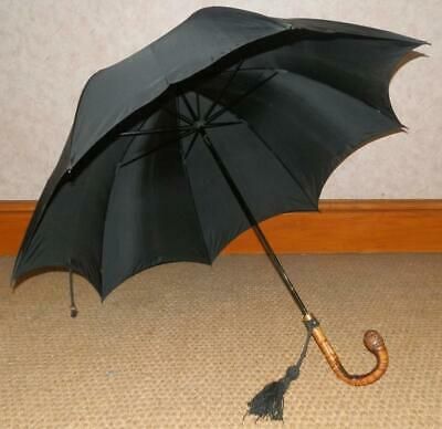 Vintage Black Umbrella With Ball Root Crook Handle & Gold Plate Collar