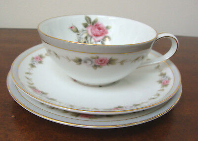 Noritake China Reverie Rose Cup Saucer and Bread Plate Trio 5431 Vintage 1970