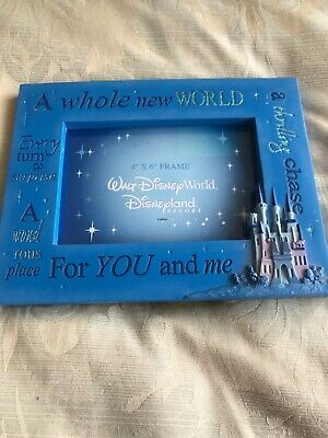 """Disney Parks """"A Whole New World For You and Me"""" Picture Photo Frame 4x6 Aladdin"""
