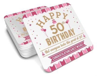 50th Birthday 1968 Happy Gift Present Idea Women Female Keepsake Ladys Coaster