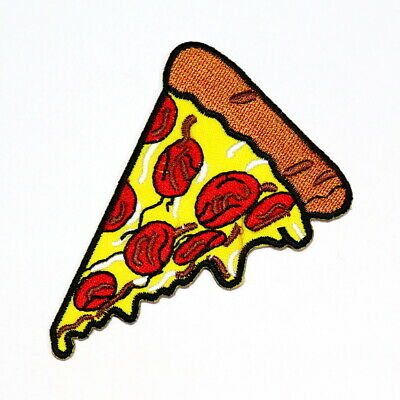 22204 Pepperoni Pizza Slice Food Yummy Gooey Cheese Embroidered Iron On Patch