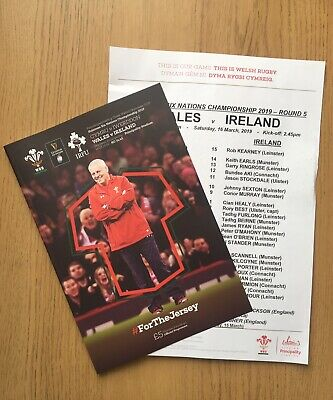 Wales v Ireland 16/03/19 -  6 Nations Programme With Team Sheet