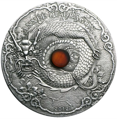"2012 Togo ""Year of the Dragon"" 2oz .999 Silver Coin with REAL AMBER - with COA"