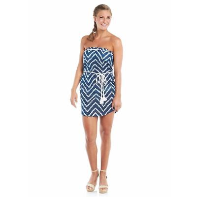 27a3ae0f1e New STRAPLESS COVER-UP DRESS Women's Size MEDIUM Navy Cotton Voile By Mud  Pie