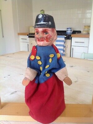 Antique wooden Punch and Judy puppet,policeman,wooden toy puppet.