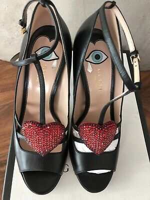 78827155448 AUTHENTIC GUCCI SAND.PELLE Heart Rhinstone Shoes Sandals NEW 37.5 US ...
