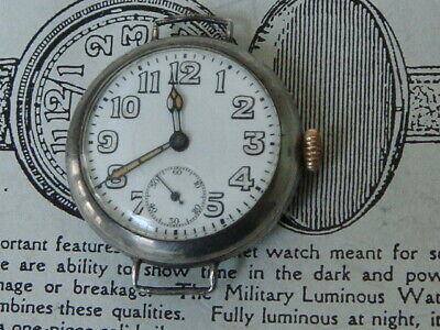 WW1 8 Day days Hebdomas silver German & W/D silver working project Trench watch