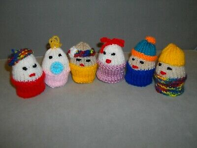 Six Hand Knitted Creme Egg Covers