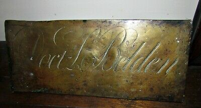 antique 18th early 19th century brass doctor sign