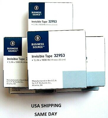 "(6 Rolls) BUSINESS SOURCE Invisible Tape 3/4""x1000"" Clear Refill 32953 1"" CORE"