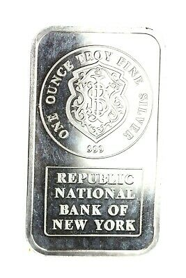 Republic National Bank of New York JM Johnson Matthey 1oz Silver Bar RARE! #1120