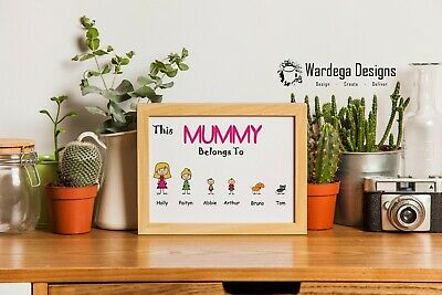 THIS MUMMY DADDY NAN GRANDAD BELONGS TO Picture Wall Art Print. Mothers day A4