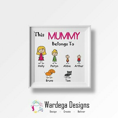 THIS MUMMY DADDY NAN GRANDAD BELONGS TO Picture Wall Art Print. Mothers Day Gift