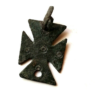 Celtic bronze pendant early Christian cross with pagan motifs