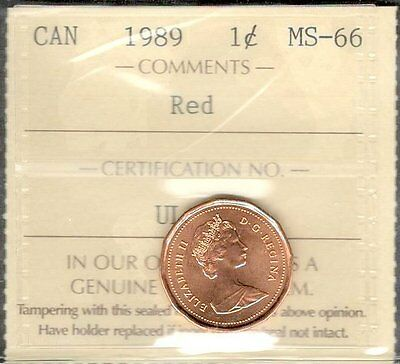 1989 Small Cent ICCS Certified MS-66 RED GEM+ * RARE Grade STUNNING Canada Penny
