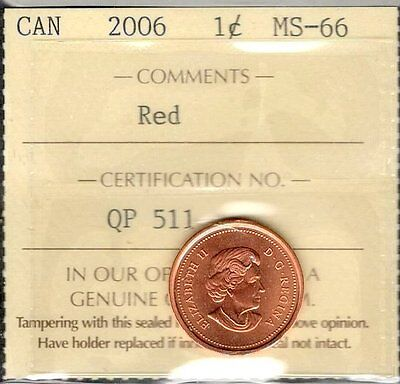 2006 Small Cent ICCS Certified MS-66 RED GEM+ ** STUNNING Graded Canada Penny
