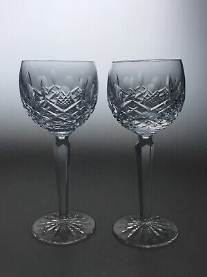 """TWO Waterford Crystal KENMARE  Wine / Hock Glasses  7 3/8"""" High Signed"""