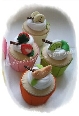 Felt cakes cup cakes handmade set of 4 fruit topped play display gift