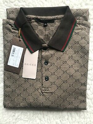 0112241ba Authentic Gucci Men s Polo Shirt Brown with GG Monogram Print  2 XL  US (