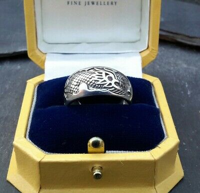 Fine Vintage Ruby Eyed Solid Sterling Silver Dragon Ring Nicely Detailed