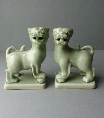 Pair of Celadon Green Glaze Foo Fu Dogs Guardian Lions Figurines.