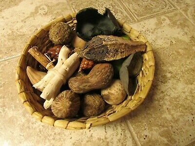 Basket of 20 mini gourds and other items. 16 gourds 4 other items in basket
