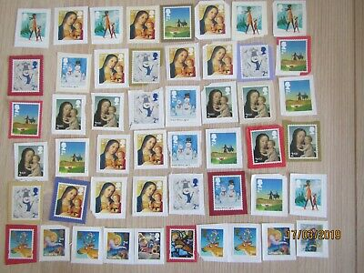 GB, 100 x 2nd class Mixed Christmas Stamps used, unfranked see photos