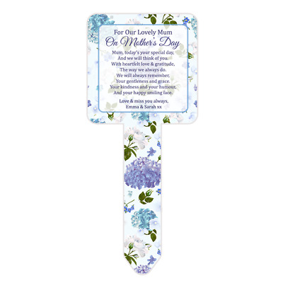 Personalised Mother's Day Mum Memorial Card Ground Stake Grave Stone Hydrangea