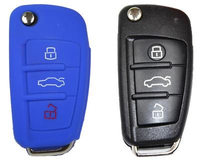 Audi Car Key 3 Buttons Remote Control Fob Cover Tablet Case – Blue – –