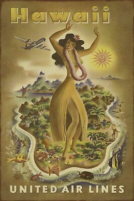 Hawaii United Air Lines Travel Advert Retro Vintage Style Metal Sign, Plaque