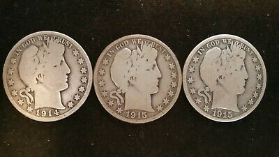 Lot of 3 different Barber Half Dollars 1914 S 1915 D 1915 S 1/2 Silver Look!