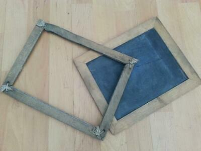 2 x Vintage Antique Small Wooden Chalkboard/ slate frames