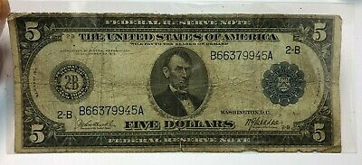 1914 US $5 Federal Reserve Note