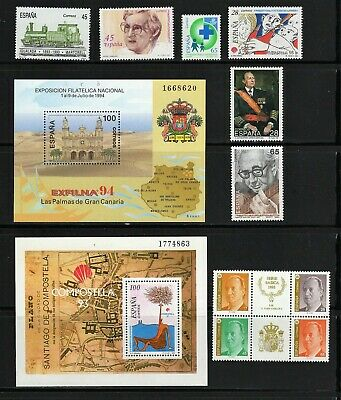 Spain -- 12 diff MNH commemoratives from 1993-94 -- cv $10.65