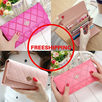 Women Wallets and Genuine Leather  Purses Plaid  Long Wallet Hasp Phone Bag Mone