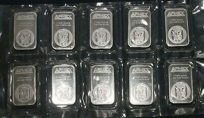 Lot Of Ten (10) Apmex 1 Troy Oz Bars 0.999 Fine Silver (10 Tot Oz) Lot P44