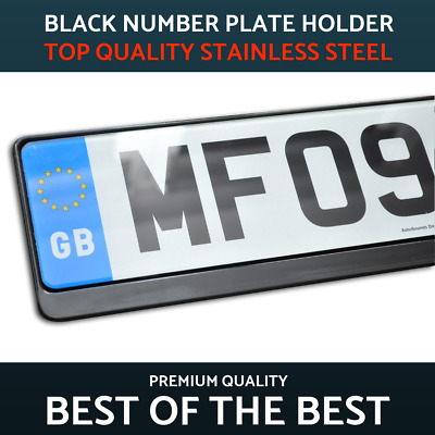 1 x Luxury Black Stainless Steel Number Plate Holder Surround for Mitsubishi