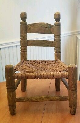 Antique Early 19th C 1820s Childs Doll Chair Early American Turned Wood AAFA