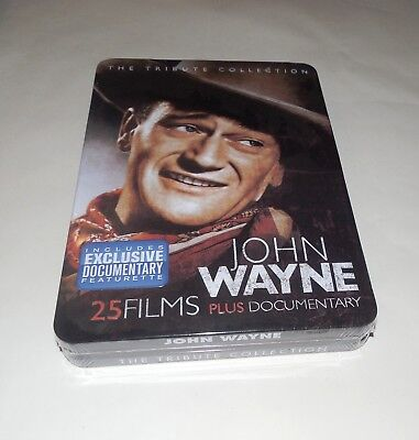 John Wayne The Tribute Collection (DVD, 2011, 4-Disc Set) 25 Films In Tin Box