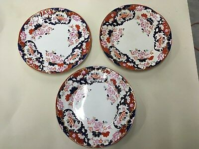 Lot of 3 Booths England Royal Semi Porcelain New Chusan Dinner Plates 10 ""