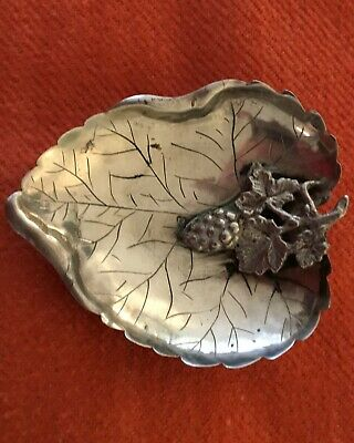 Peruvian silver leaf shaped ashtraly with grape cluster base metal decoration