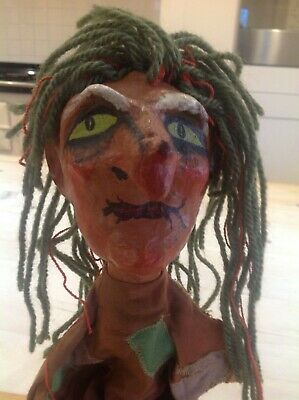 Vintage paper mâché puppet,witch puppet.punch and Judy toy puppet.