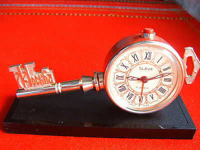 Vintage Old Soviet USSR Table Alarm Clock SLAVA 7