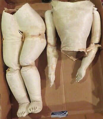 """Antique 19"""" Tall C1870 French Poupee Peau Doll Body, Fixer"""