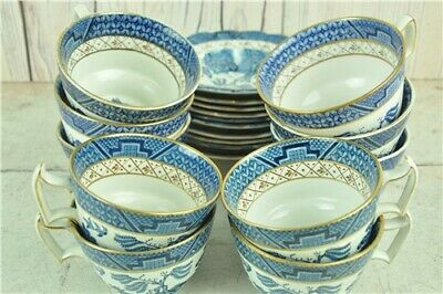 Booths Real Old Willow 10 Teacups and 10 Saucers A8025 Mark Vintage from 1944-81