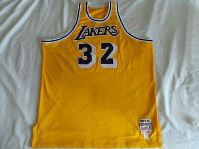 425ae372b Mitchell Ness M N Authentic LA Los Angeles Lakers Magic Johnson jerse 3XL  sz 56