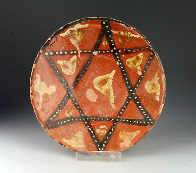 *SC* RARE ISLAMIC POTTERY DISH  w. STAR  DECORATION, c. 11th. century AD!!